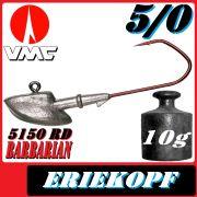 VMC Jigkopfhaken Jigkopf Eriekopf Größe 5/0 in 10g Jighaken mit VMC Barbarian 5150 RD Haken
