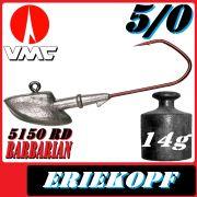 VMC Jigkopfhaken Jigkopf Eriekopf 5/0 14g Jighaken mit VMC Barbarian 5150 RD Haken