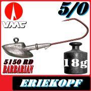 VMC Jigkopfhaken Jigkopf Eriekopf Größe 5/0 in 18g Jighaken mit VMC Barbarian 5150 RD Haken