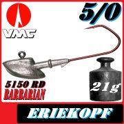 VMC Jigkopfhaken Jigkopf Eriekopf Größe 5/0 in 21g Jighaken mit VMC Barbarian 5150 RD Haken