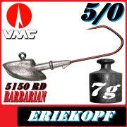 VMC Jigkopfhaken Jigkopf Eriekopf 5/0 7g Jighaken mit VMC Barbarian 5150 RD Haken