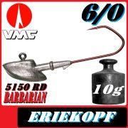 VMC Jigkopfhaken Jigkopf Eriekopf 6/0 10g Jighaken mit VMC Barbarian 5150 RD Haken