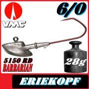 VMC Jigkopfhaken Jigkopf Eriekopf 6/0 28g Jighaken mit VMC Barbarian 5150 RD Haken