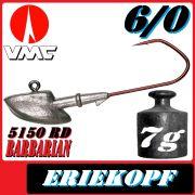 VMC Jigkopfhaken Jigkopf Eriekopf 6/0 7g Jighaken mit VMC Barbarian 5150 RD Haken