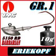 VMC Jigkopfhaken Jigkopf Eriekopf Gr.1 10g Jighaken mit VMC Barbarian 5150 RD Haken
