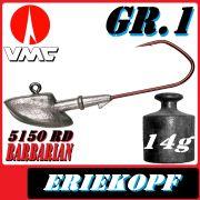 VMC Jigkopfhaken Jigkopf Eriekopf Gr.1 14g Jighaken mit VMC Barbarian 5150 RD Haken