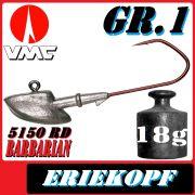 VMC Jigkopfhaken Jigkopf Eriekopf Gr.1 18g Jighaken mit VMC Barbarian 5150 RD Haken