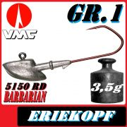 VMC Jigkopfhaken Jigkopf Eriekopf Gr.1 3,5g Jighaken mit VMC Barbarian 5150 RD Haken