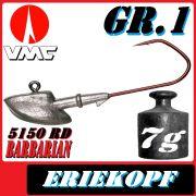 VMC Jigkopfhaken Jigkopf Eriekopf Gr.1 7g Jighaken mit VMC Barbarian 5150 RD Haken