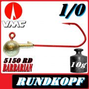 VMC Jigkopfhaken Jigkopf Rund 1/0 10g Jighaken mit VMC Barbarian 5150 RD Haken 1 Stück