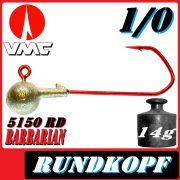 VMC Jigkopfhaken Jigkopf Rund 1/0 14g Jighaken mit VMC Barbarian 5150 RD Haken 1 Stück