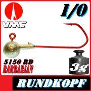 VMC Jigkopfhaken Jigkopf Rund 1/0 3g Jighaken mit VMC Barbarian 5150 RD Haken 1 Stück
