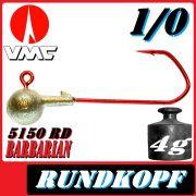VMC Jigkopfhaken Jigkopf Rund 1/0 4g Jighaken mit VMC Barbarian 5150 RD Haken 1 Stück