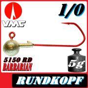 VMC Jigkopfhaken Jigkopf Rund 1/0 5g Jighaken mit VMC Barbarian 5150 RD Haken 1 Stück