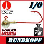 VMC Jigkopfhaken Jigkopf Rund 1/0 7g Jighaken mit VMC Barbarian 5150 RD Haken 1 Stück
