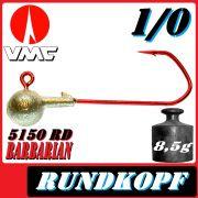 VMC Jigkopfhaken Jigkopf Rund 1/0 8,5g Jighaken mit VMC Barbarian 5150 RD Haken 1 Stück
