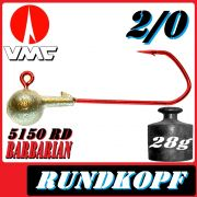 VMC Jigkopfhaken Jigkopf Rund 2/0 28g Jighaken mit VMC Barbarian 5150 RD Haken 1 Stück