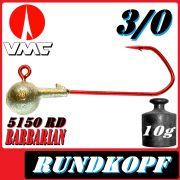 VMC Jigkopfhaken Jigkopf Rund 3/0 10g Jighaken mit VMC Barbarian 5150 RD Haken 1 Stück