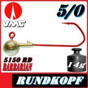VMC Jigkopfhaken Jigkopf Rund 5/0 14g Jighaken mit VMC Barbarian 5150 RD Haken 1 Stück