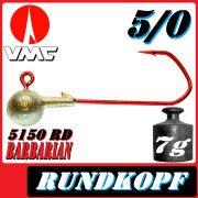 VMC Jigkopfhaken Jigkopf Rund 5/0 7g Jighaken mit VMC Barbarian 5150 RD Haken 1 Stück