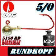 VMC Jigkopfhaken Jigkopf Rund 5/0 8,5g Jighaken mit VMC Barbarian 5150 RD Haken 1 Stück