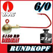 VMC Jigkopfhaken Jigkopf Rund 6/0 21g Jighaken mit VMC Barbarian 5150 RD Haken 1 Stück
