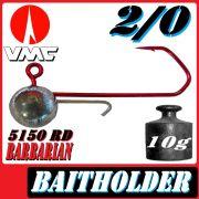 VMC Jigkopfhaken Jigkopf Rund mit Baitholder in Größe 2/0 10g Jighaken mit VMC Barbarian 5150 RD Haken 1 Stück