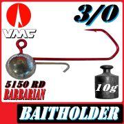 VMC Jigkopfhaken Jigkopf Rund mit Baitholder in Größe 3/0 10g Jighaken mit VMC Barbarian 5150 RD Haken 1 Stück